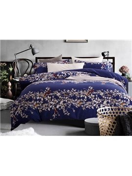 Noble Purple Flower Rattan Print 4-Piece Cotton Duvet Cover Sets