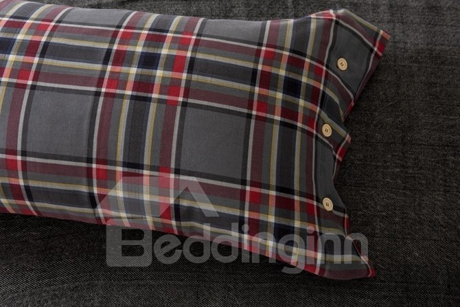Fabulous Neutral Plaid Print 4-Piece Cotton Duvet Cover Sets