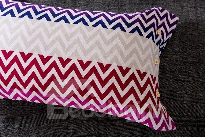 Colorful Chevron Pattern Print 4-Piece Cotton Duvet Cover Sets