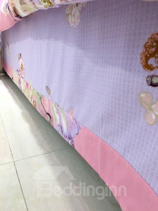Elegant Lush Peony Print Pink 4-Piece Cotton Duvet Cover Sets