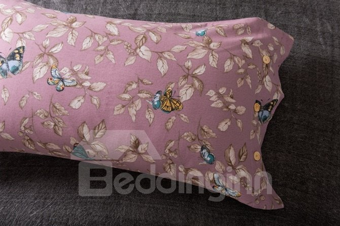 Faddish Leaves and Butterfly Print 4-Piece Cotton Duvet Cover Sets