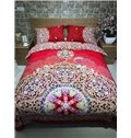 Festive Red Unique Damask 4-Piece Cotton Duvet Cover Sets