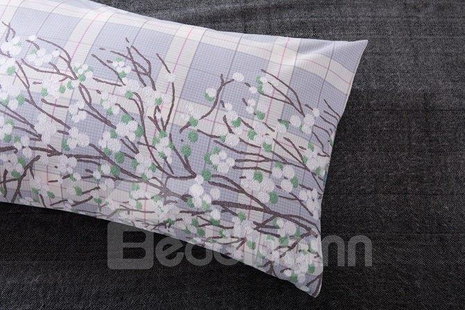 Unique Plaid and Flower Rattan Print 4-Piece Cotton Duvet Cover Sets