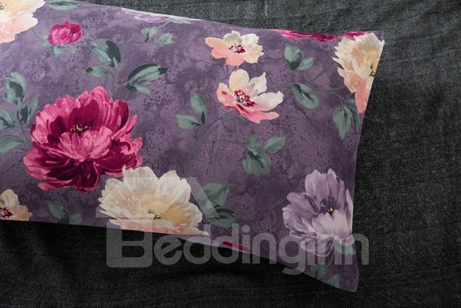 Noble Colorful Peony Print Purple 4-Piece Cotton Duvet Cover Sets