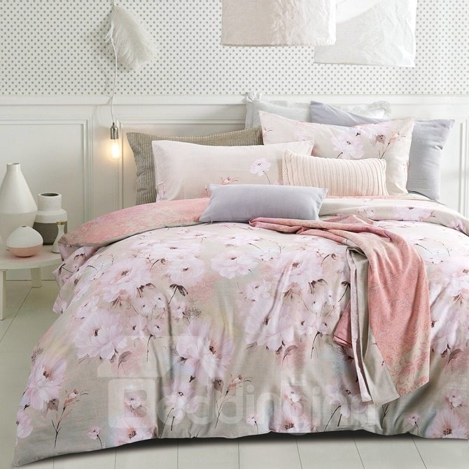 Stunning Pink Cherry Blossom Print 4-Piece Cotton Duvet Cover Sets