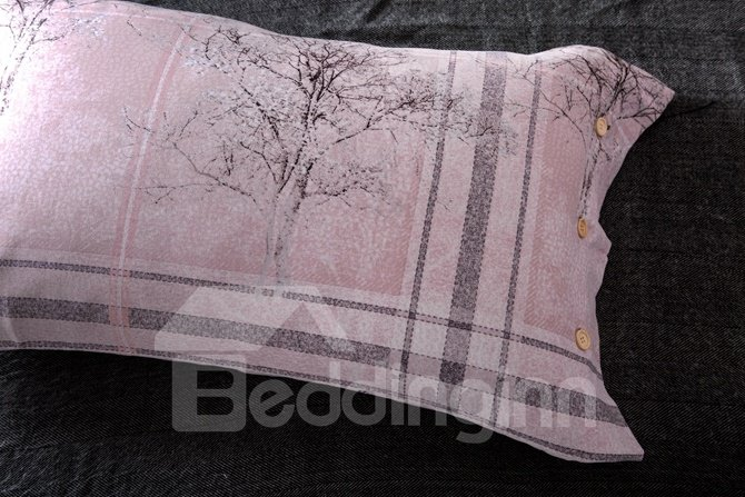 Attractive Tree and  Plaid Print 4-Piece Cotton Duvet Cover Sets