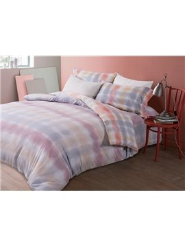 Gradient Color Plaid Print 4-Piece Cotton Duvet Cover Sets