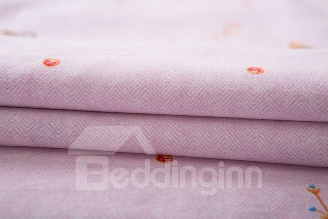 Princess Style Bee Print Pink 4-Piece Cotton Duvet Cover Sets