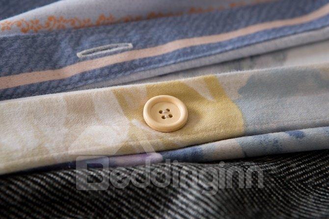Pastoral Style Beige Peony Print 4-Piece Cotton Duvet Cover Sets