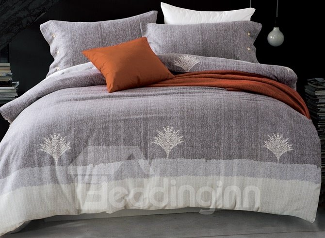 Noble Gray Tree Print 4-Piece Cotton Duvet Cover Sets