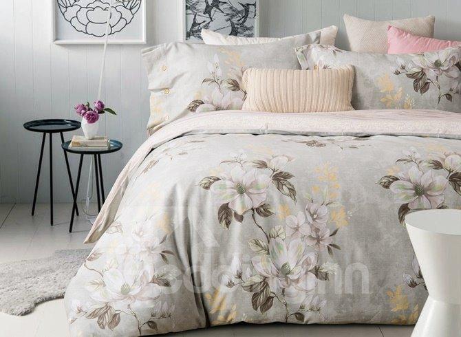Delicate Magnolia Print 4 Piece Cotton Duvet Cover Sets