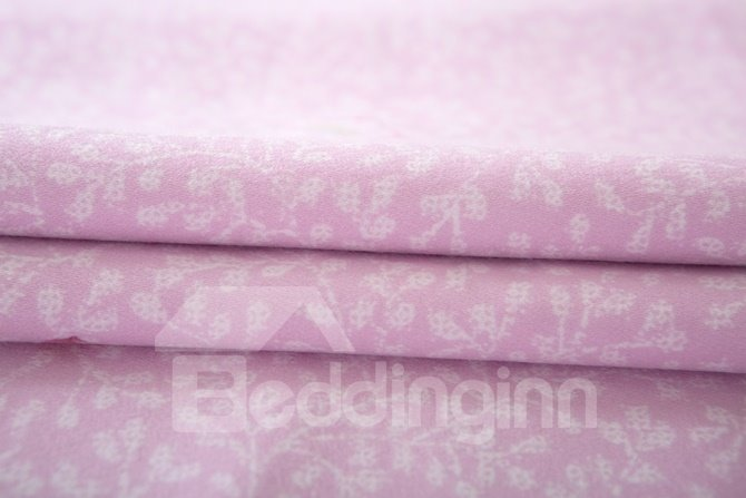 Beautiful Peach Blossom Print Lavender 4-Piece Cotton Duvet Cover Sets
