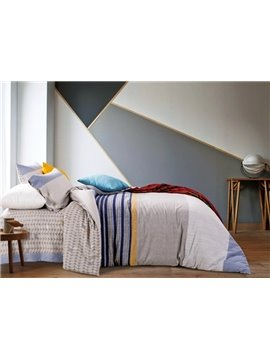 Modern Style Popular Stripes Print 4-Piece Cotton Duvet Cover Sets