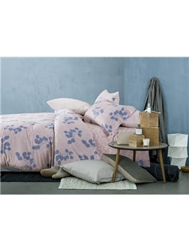 Bright Blue Leaves Print 4-Piece Cotton Duvet Cover Sets