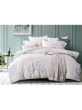 Chic Leaves Reactive Printing 4-Piece Cotton Duvet Cover Sets