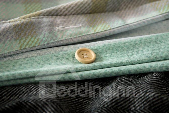 Contemporary Gradient Stripes Print 4-Piece Cotton Duvet Cover Sets