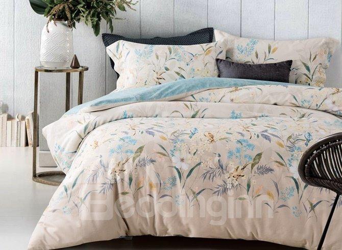 Pastoral Style Adorable Bird Print 4-Piece Cotton Duvet Cover Sets
