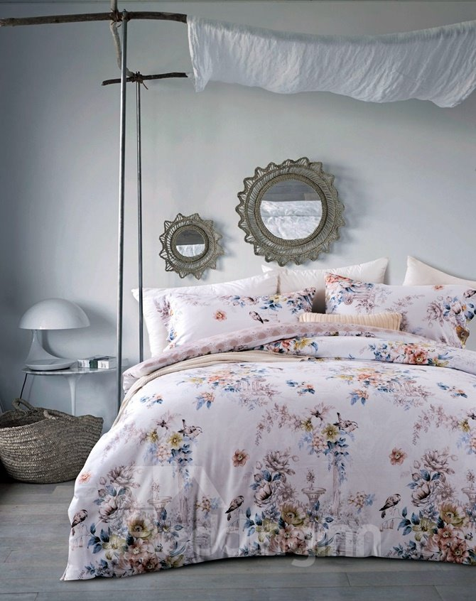 Noble Peony and Bird Print 4-Piece Cotton Duvet Cover Sets