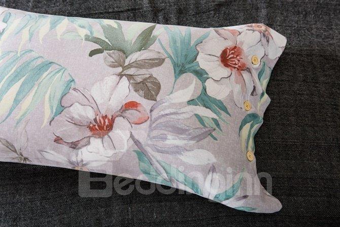 White Peony Print 4-Piece Cotton Duvet Cover Sets