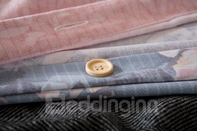 Elegant Peony Print Blue 4-Piece Cotton Duvet Cover Sets