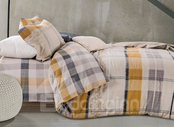 Soft and Warm Plaid Print 4-Piece Cotton Duvet Cover Sets