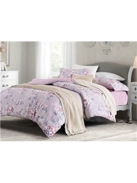 Creative Design Elegant Floret Print 4-Piece Cotton Duvet Cover Sets