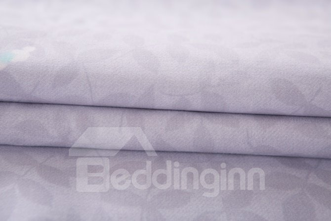 Popular White Floret Print Pink 4-Piece Cotton Duvet Cover Sets