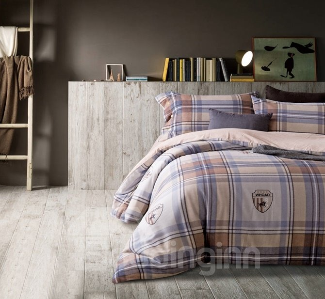 Organic Cotton Plaid Print 4-Piece Duvet Cover Sets