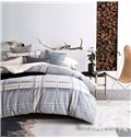 Classic Neutral Plaid Reactive Printing Grey 4-Piece Cotton Duvet Cover Sets