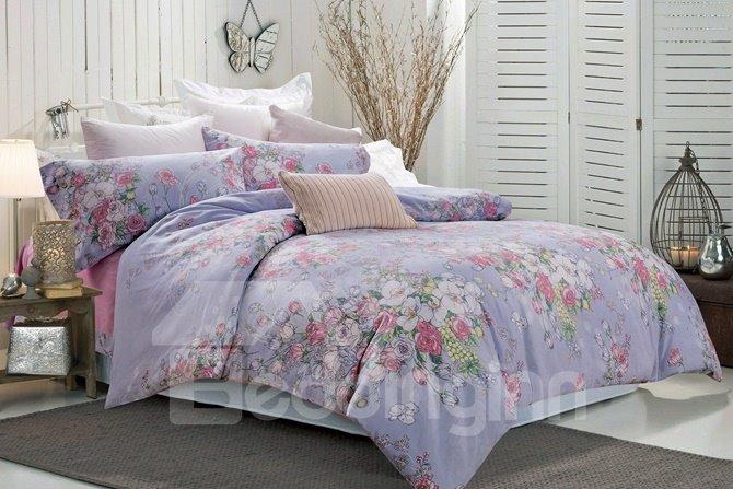 Romantic Floral Lavender 4-Piece Cotton Duvet Cover Sets