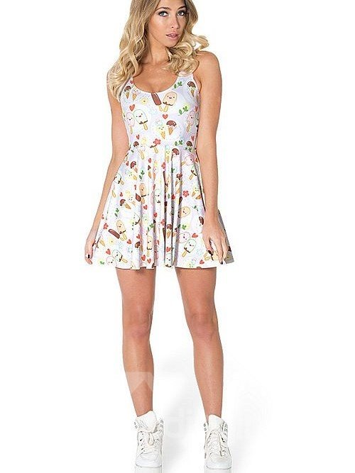 Cute A-line Round Neck Ice Cream Pattern 3D Painted Dress