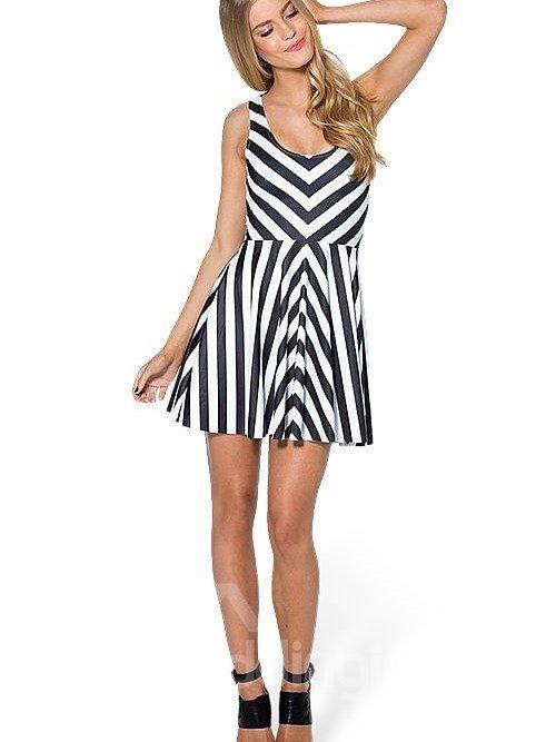 Fashion A-line Round Neck Zebra Stripe Pattern 3D Painted Dress