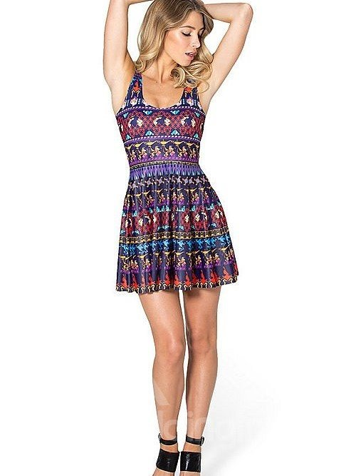 Gorgeous A-line Round Neck Novetly Pattern 3D Painted Dress