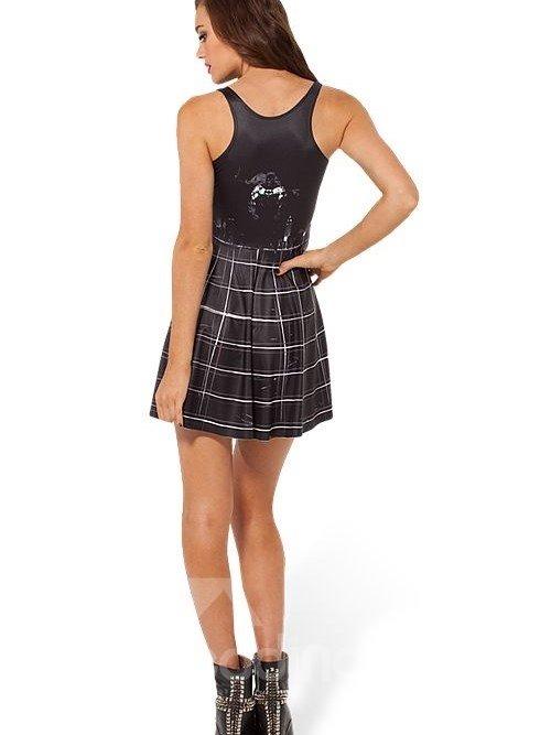 Unique A-line Round Neck Plaid Pattern Black Background 3D Painted Dress