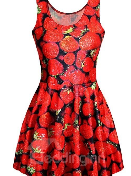 Elegant A-line Round Neck Strawberry Pattern 3D Painted Dress
