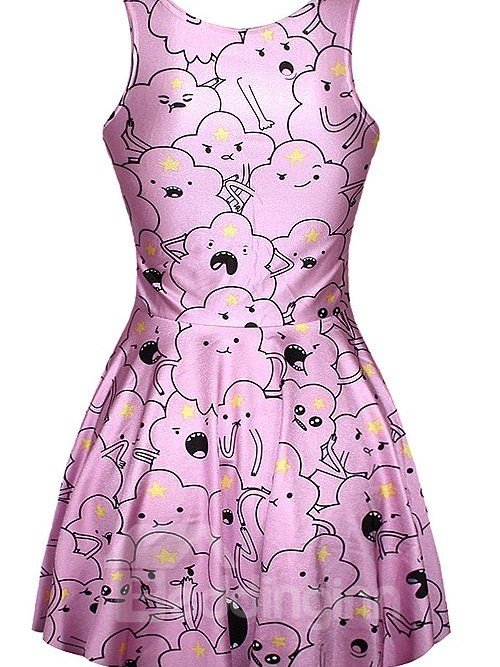 Pretty A-line Round Neck Cartoon Cloud Pattern 3D Painted Dress