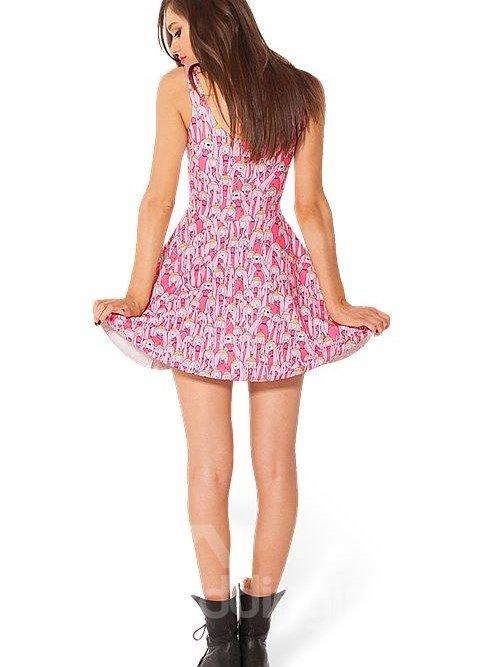 Lovely A-line Round Neck Cartoon Queen Pattern 3D Painted Dress
