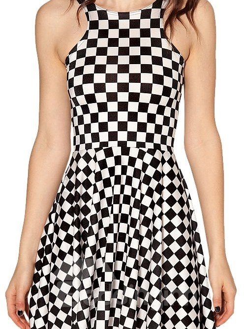 Concise A-Line Round Neck Plaid Pattern 3D Painted Dress