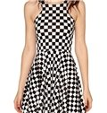 Concise A-Line Round Neck Plaid Pattern 3D Painted Dress