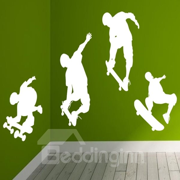 Wonderful White and Black 4 Skateboard Boys Pattern Wall Stickers