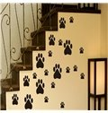 Cute White and Black Dog Footprints Pattern Wall Stickers