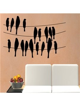Lively Birds Standing on the line Pattern Wall Stickers