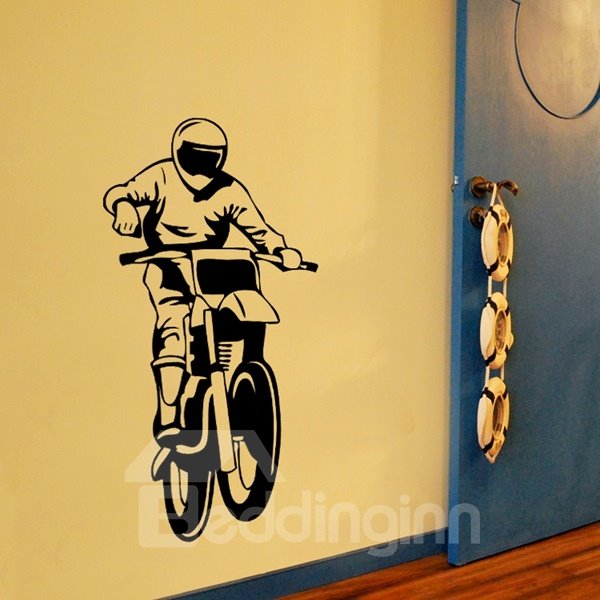 Cool Motorcycle Man Pattern Removable Wall Stickers