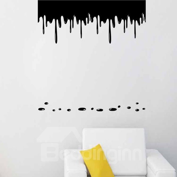 White and Black Flowing Paint Pattern Wall Stickers