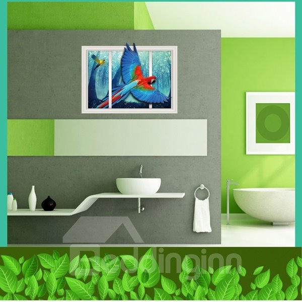 Beautiful Flying Parrot From Window Scenery Wall Stickers