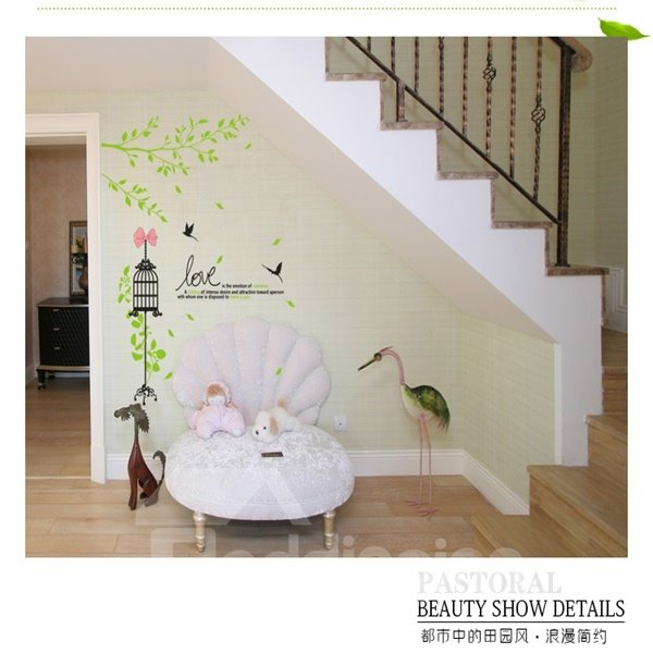 Home Decorative Country Style Tree and Bird Pattern Wall Stickers
