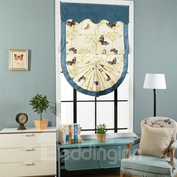 Designer Butterflies Print Blending Roman Shades with Blue Valance and Border