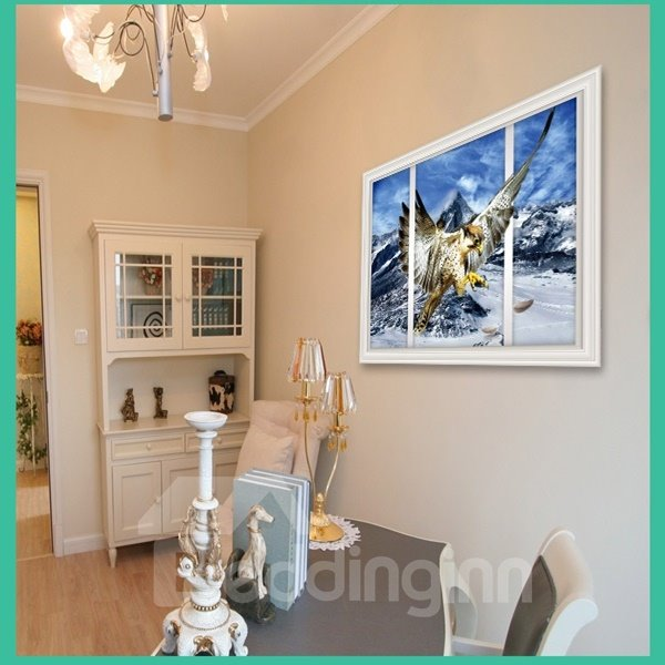 Flying Eagle in Winter Window Scenery Removable Wall Stickers