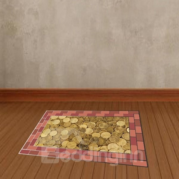 Golden Luxury Coins Pattern Floor Decoration Wall Stickers