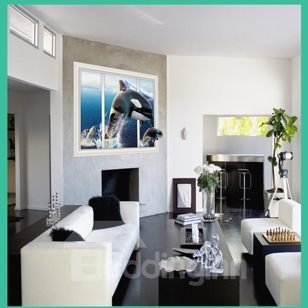 Cute Jumping Dolphin From Window Removable Wall Stickers
